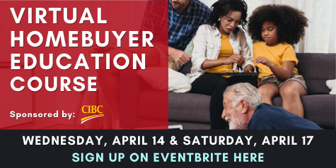 April Homebuyer Education Course, April 14 & 17. Click here to sign up.