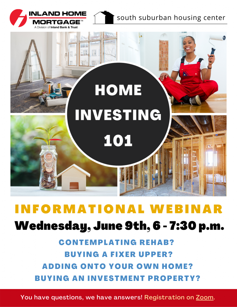 Home Investing 101, June 9,  6-7:30 p.m. Click here to sign up